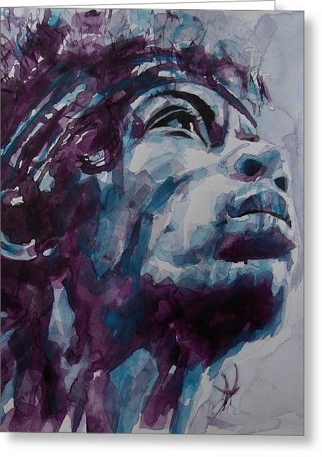 Haze Greeting Cards - Hendrix Woodstock  Greeting Card by Paul Lovering