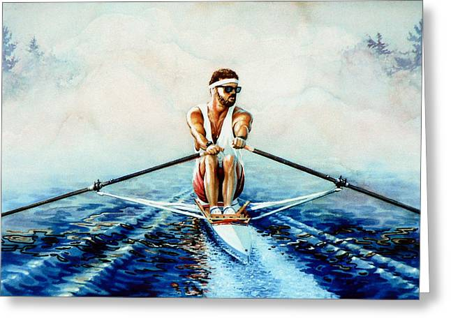 Scull Prints Greeting Cards - Henley On The Horizon Greeting Card by Hanne Lore Koehler