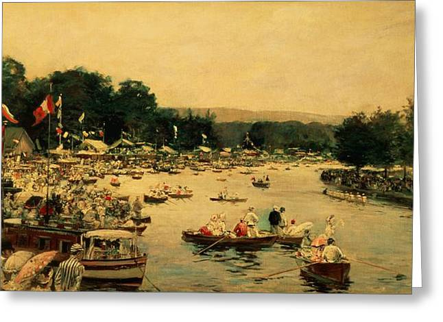 Rowers Paintings Greeting Cards - Henley Regatta Greeting Card by James Jacques Joseph Tissot