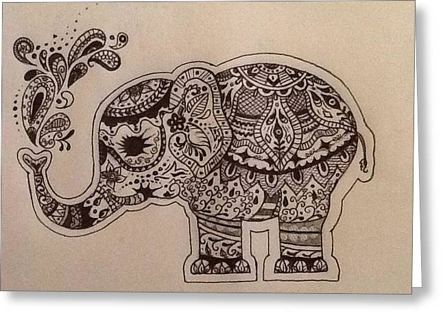 Pen And Ink Drawing Greeting Cards - Hennaphant Greeting Card by Melissa Bertaut