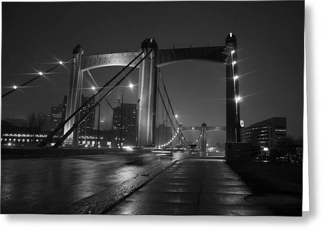 Minneapolis Skyline Greeting Cards - Hennepin Avenue Bridge Greeting Card by Heidi Hermes