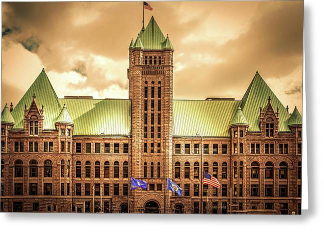 Hennepin County Courthouse In Minneapolis , Minnesota  Greeting Card by Art Spectrum