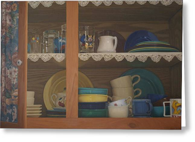 Kitchen Photos Paintings Greeting Cards - Henriettas Cupboard Greeting Card by Suzn Smith