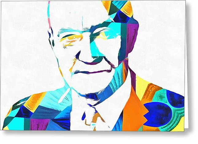 Conservative Greeting Cards - Henry Hazlitt Colorful Abstract Greeting Card by Dan Sproul