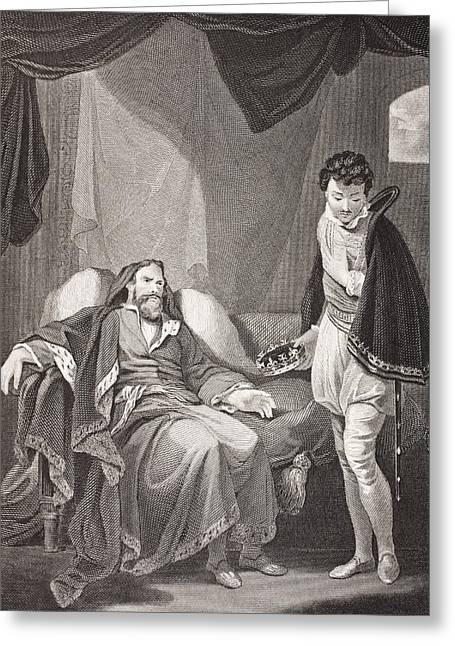 Henry Drawings Greeting Cards - Henry Iv Reproving Prince Henry Greeting Card by Ken Welsh