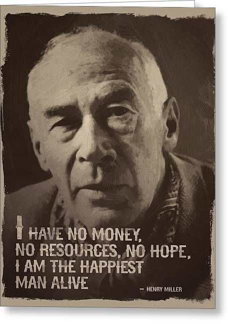 Henry Miller Quote Greeting Card by Afterdarkness