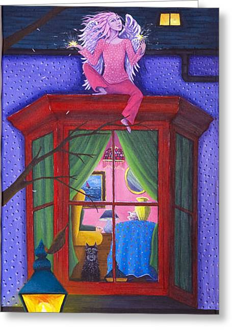 Night Lamp Greeting Cards - Henry waits for his friend. Greeting Card by Jacqueline Lovesey