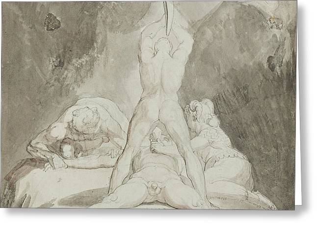 Greek Myth Greeting Cards - Hephaestus Bia and Crato Securing Prometheus on Mount Caucasus Greeting Card by Henry Fuseli