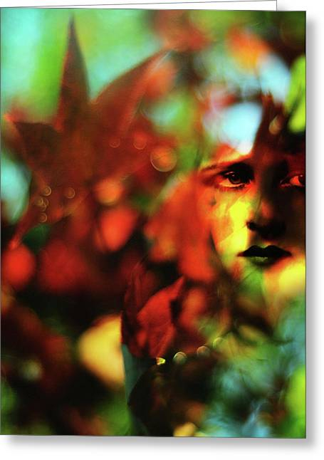 Her Autumn Eyes Greeting Card by Rebecca Sherman