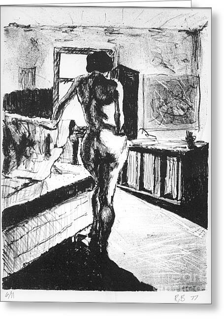 Lithograph Mixed Media Greeting Cards - Her Back Greeting Card by Ron Bissett
