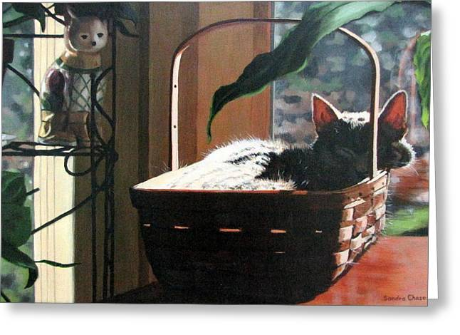 Sandra Chase Paintings Greeting Cards - Her Basket Greeting Card by Sandra Chase