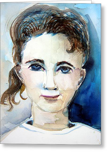 T Shirts Drawings Greeting Cards - Her Bluest Eyes Greeting Card by Mindy Newman