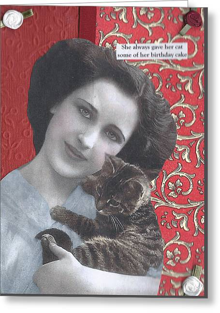 Best Friend Greeting Cards - Her Cat Gets Hungry Too Greeting Card by Lin Collette
