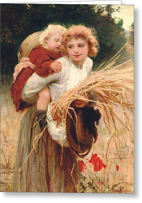 Her Constant Care Greeting Card by Frederick Morgan
