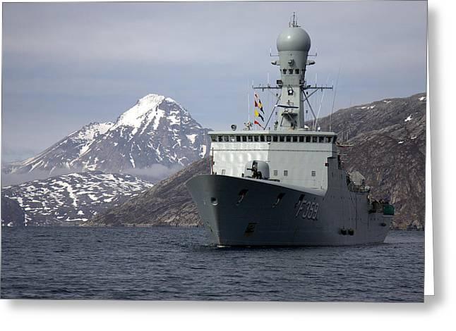 Danish Navy Greeting Cards - Her Danish Majestys Ship Vaedderen F359  Greeting Card by Vala Oddsdottir