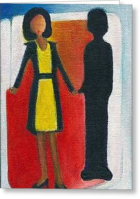Michelle Obama Paintings Greeting Cards - Her Dark Knight Greeting Card by Ricky Sencion