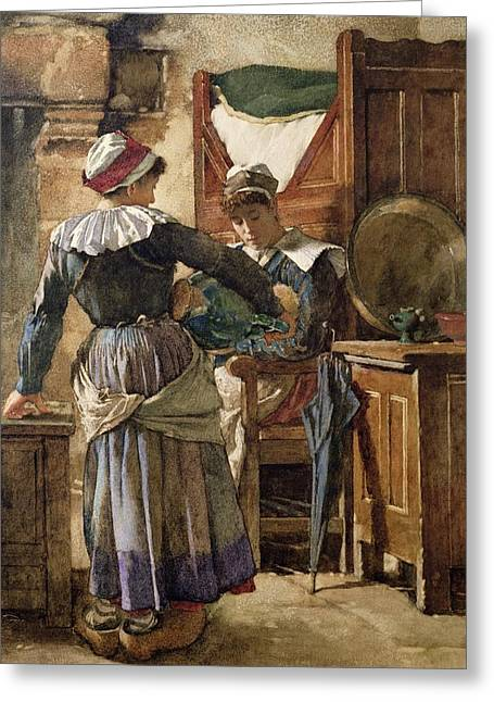 Caring Mother Paintings Greeting Cards - Her First Born Greeting Card by Walter Langley