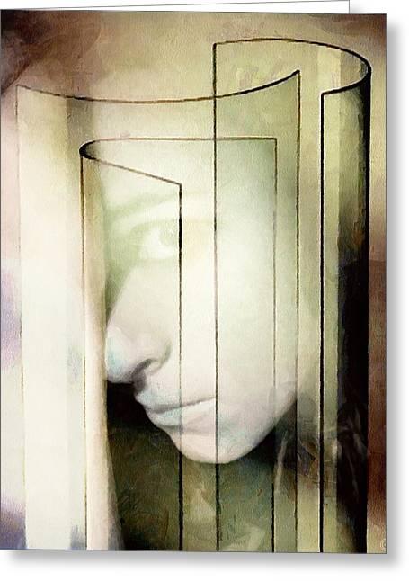 Hiding Digital Art Greeting Cards - Her Glass Facade Greeting Card by Gun Legler