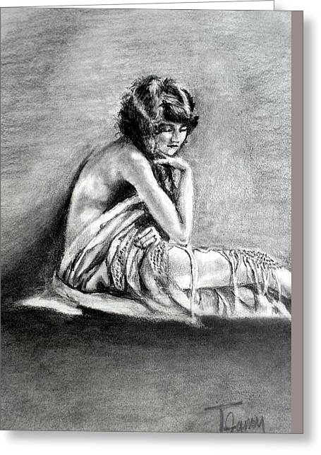 Pensive Drawings Greeting Cards - Her Heart is her Burden Greeting Card by Terry Ganey