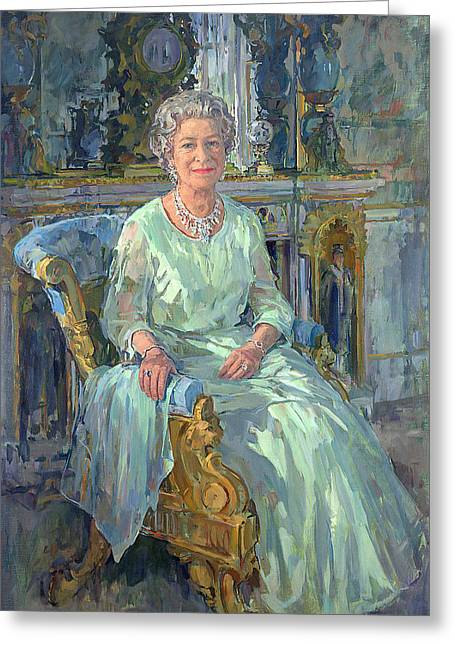 Upholstery Greeting Cards - Her Majesty the Queen Greeting Card by Susan Ryder