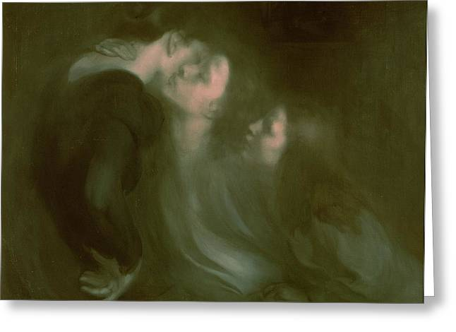 Embrace Greeting Cards - Her Mothers Kiss Greeting Card by Eugene Carriere