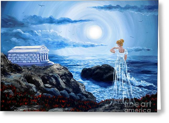 Mausoleum Greeting Cards - Her Tomb by the Sounding Sea Greeting Card by Laura Iverson