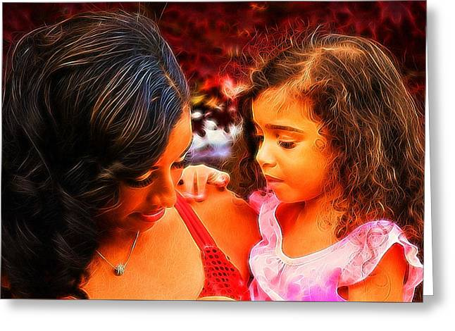 Child Care Digital Greeting Cards - Her Twin Greeting Card by Majula Warmoth