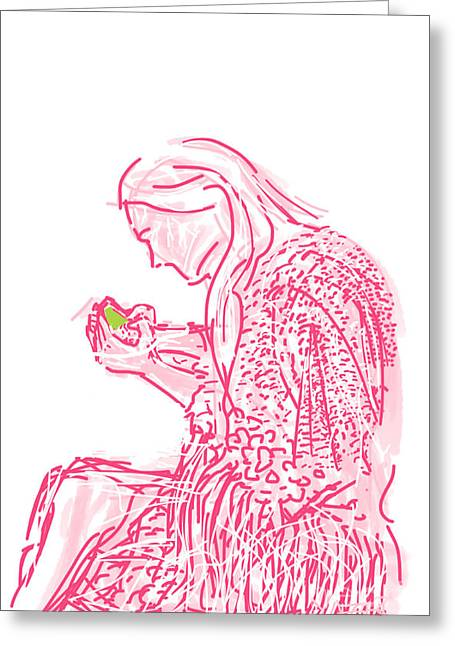 Consume Drawings Greeting Cards - Her World Greeting Card by Robert Yaeger