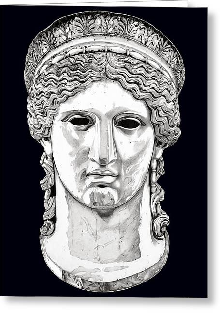Greek Sculpture Drawings Greeting Cards - Hera _ V5 Greeting Card by Bruce Algra