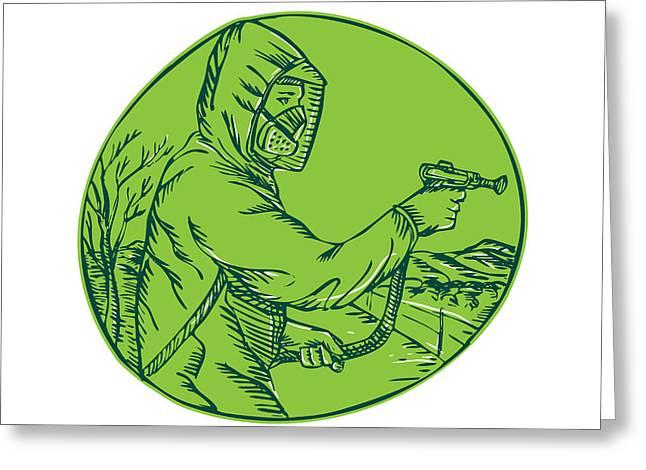 Exterminator Greeting Cards - Herbicide Pesticide Control Exterminator Spraying Etching Greeting Card by Aloysius Patrimonio