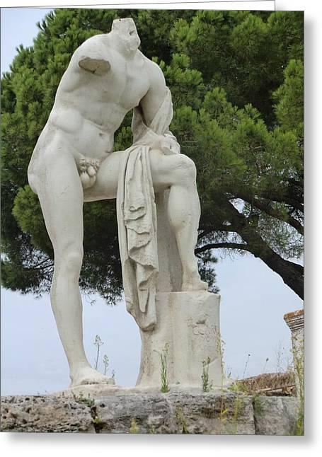Greek Sculpture Digital Art Greeting Cards - Hercules at Ostia Antica Greeting Card by Mindy Newman