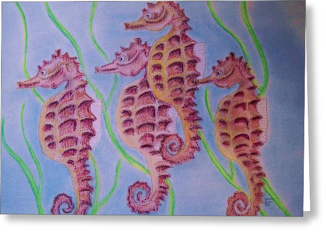Seahorse Pastels Greeting Cards - Herd of Seahorses Greeting Card by Sandra Sass