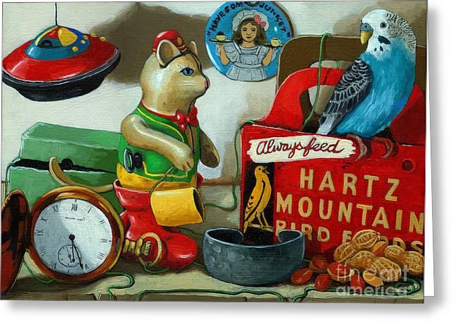 Linda Apple Paintings Greeting Cards - Here birdie birdie Greeting Card by Linda Apple