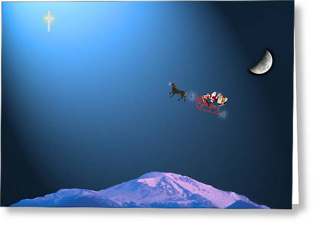 Christmas Eve Greeting Cards - Here Comes Santa   Greeting Card by Adele Moscaritolo