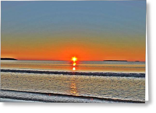 Maine Beach Greeting Cards - Here Comes The Sun Greeting Card by Richard Fisher