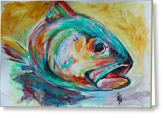 Rainbow Trout Greeting Cards - Here Fishy Fishy White Greeting Card by Jordan  Bodenhamer Barnard
