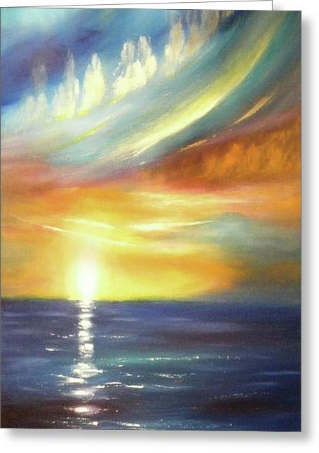 Gorna Greeting Cards - Here It Goes - Vertical Colorful Sunset Greeting Card by Gina De Gorna