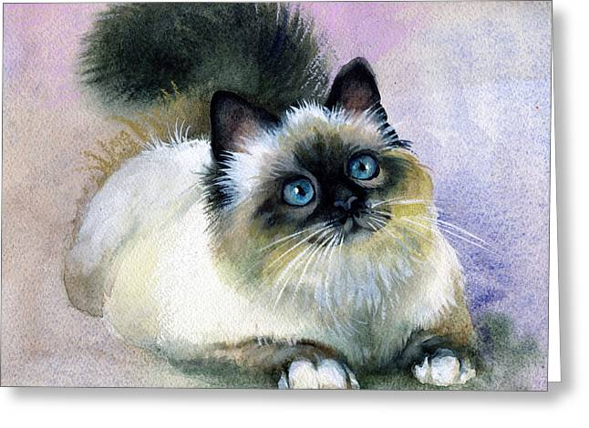 Bible Paintings Greeting Cards - Here Kitty Greeting Card by Karen Showell