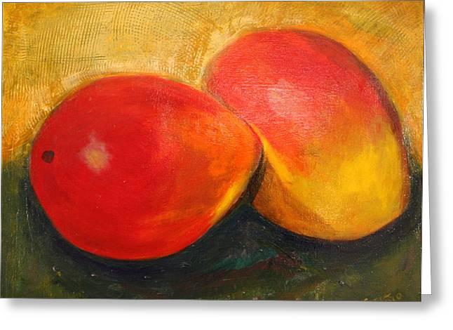 Mango Greeting Cards - Here We Mango Again Greeting Card by Gitta Brewster