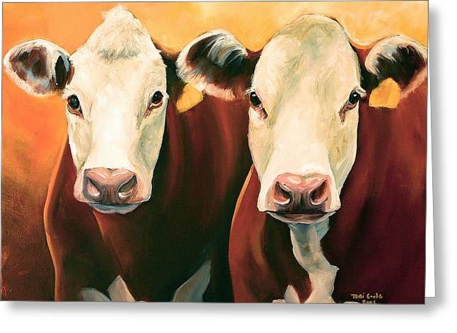 Hereford Greeting Cards - Herefords Greeting Card by Toni Grote