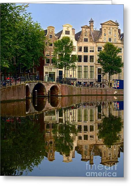 Reflecting Water Greeting Cards - Herengracht canal. Amsterdam. Netherlands. Europe Greeting Card by Bernard Jaubert