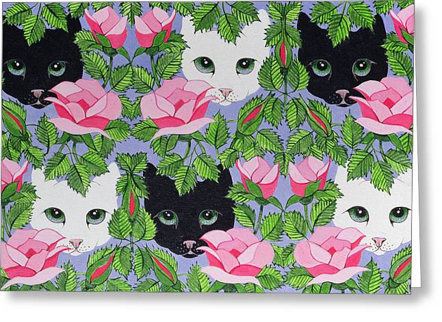 Cute Kitten Drawings Greeting Cards - Heres Looking at You Greeting Card by Pat Scott