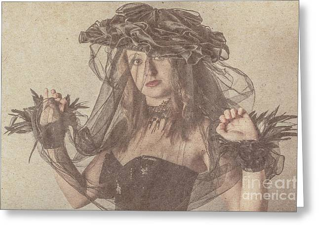 Heritage Fashion Girl Posing In Vintage Hat Greeting Card by Jorgo Photography - Wall Art Gallery