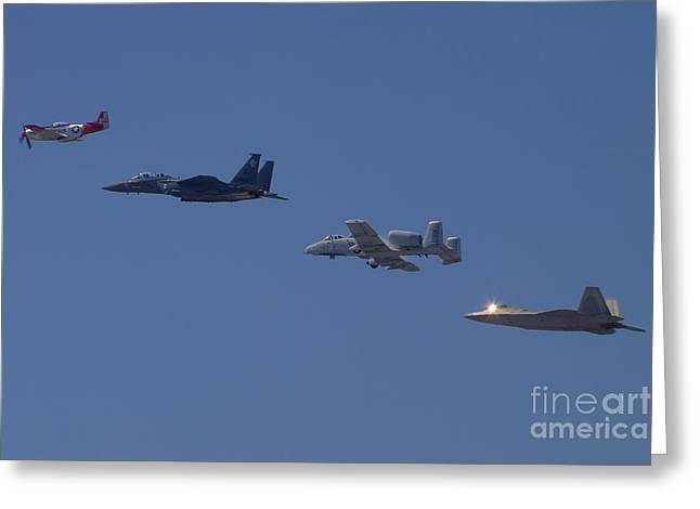 Heritage Flight Fly Over Greeting Card by Cathy Gregg