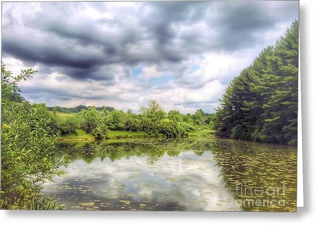 Pond In Park Greeting Cards - Heritage Park Reflections Greeting Card by Kerri Farley
