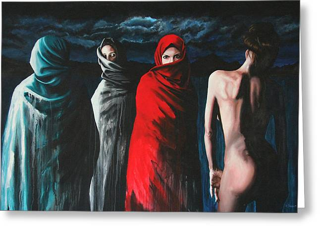 Iraq Paintings Greeting Cards - Hermanas II Greeting Card by Ryan Swallow