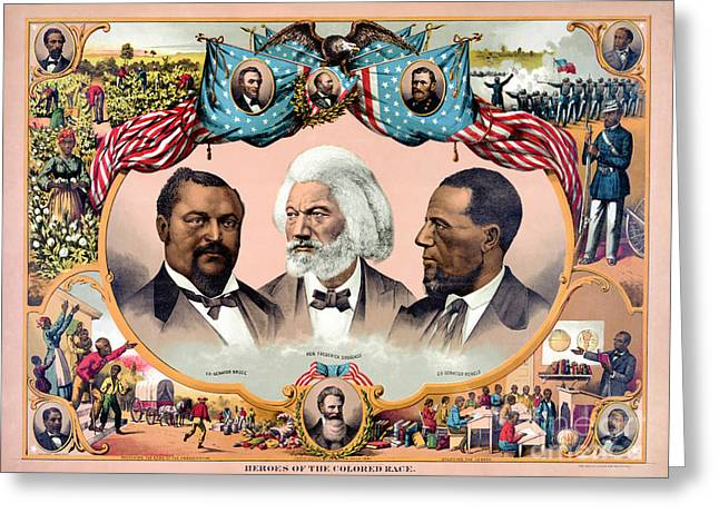 Frederick Douglass Greeting Cards - Heroes of the colored race Poster 1881 Restored Greeting Card by Carsten Reisinger