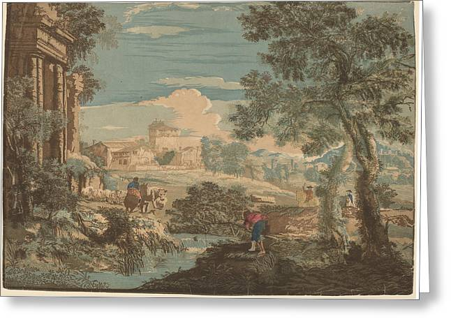 Outlook Greeting Cards - Heroic Landscape With Fisherman - Cows - And Horsemen Greeting Card by John Baptist Jackson After Marco Ricci
