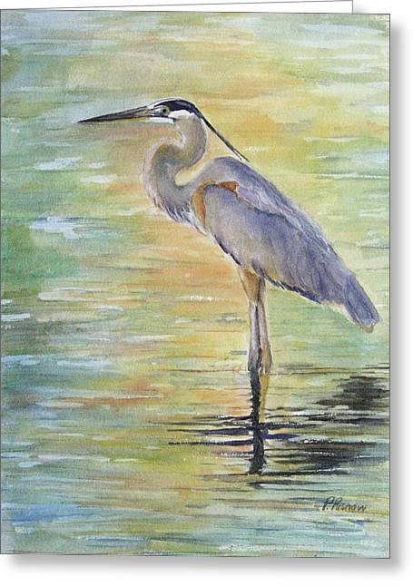 Shorebird Greeting Cards - Heron at the Lagoon Greeting Card by Patricia Pushaw