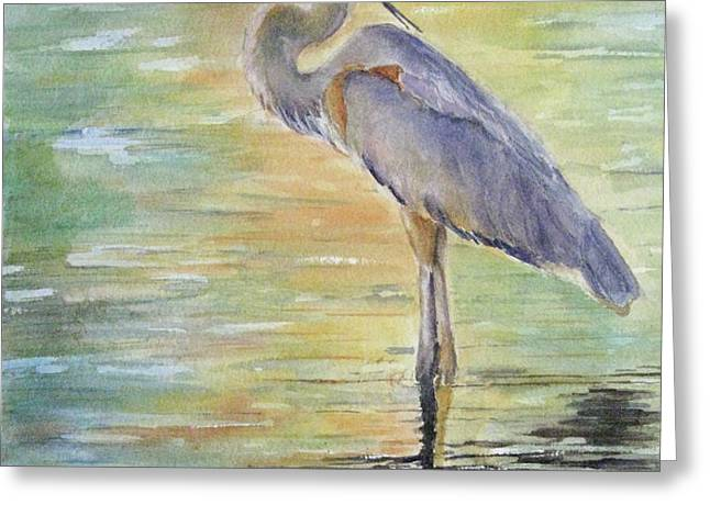 Heron at the Lagoon Greeting Card by Patricia Pushaw